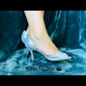 Holiday Favorites KATE SPADE GLITTERY SILVER HEELS